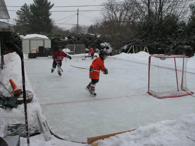 Backyard Rink Hockey Day in Nepean Nepean, Ontario Canada