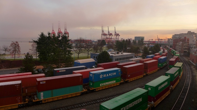 Trains, Cranes, Fog & Sun