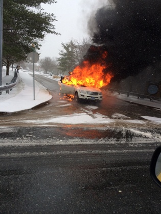 Car on fire on Old Pimlico Road