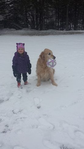 Little girl and her dog Fredericton, New Brunswick Canada