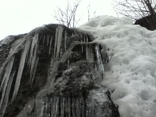 melting ice, watch out below! South Vernon, British Columbia Canada