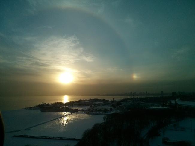 Sun Dog over the Lake Toronto, Ontario Canada