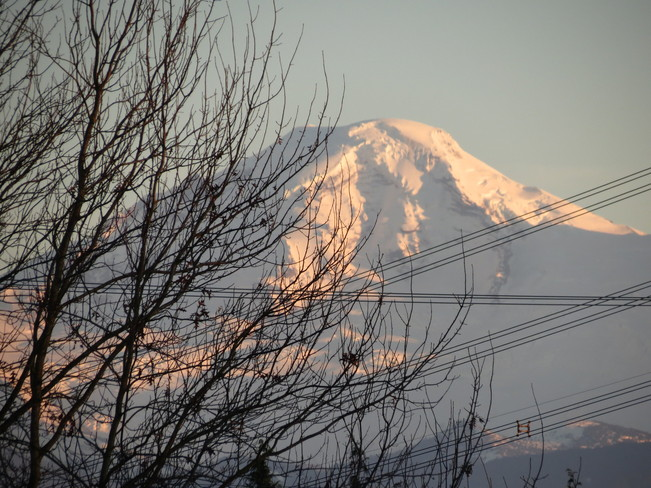 Sun setting on Mt Baker as seen from my Deck Abbotsford, British Columbia Canada