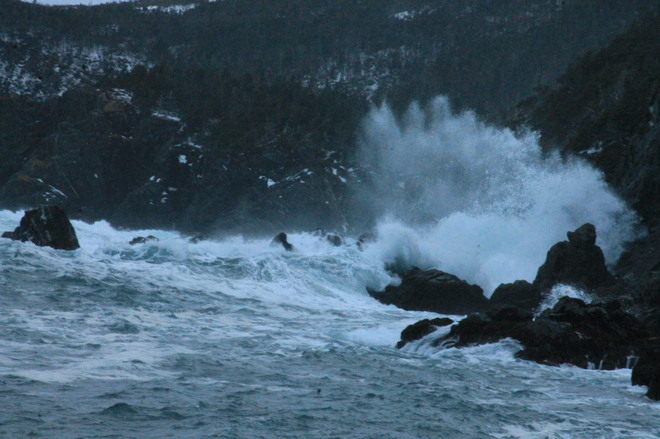 when the sea hits the shore Rock Harbour, Newfoundland and Labrador Canada