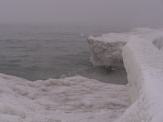 Ice cliffs, Prince Edward County Wellington Beach, Ontario Canada