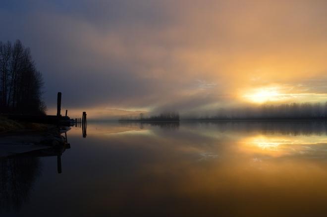 Pre-dawn on the Fraser River Maple Ridge, British Columbia Canada