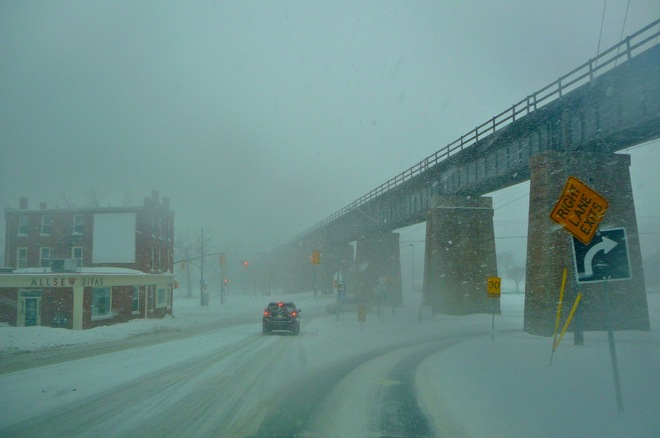 Blowing snow whiteout conditions this afternoon. Port Hope, Ontario Canada