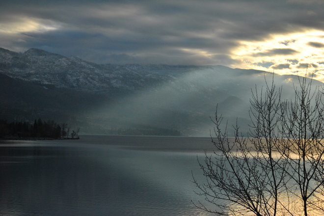 Rays of January sunlight on the lake South Kelowna, British Columbia Canada