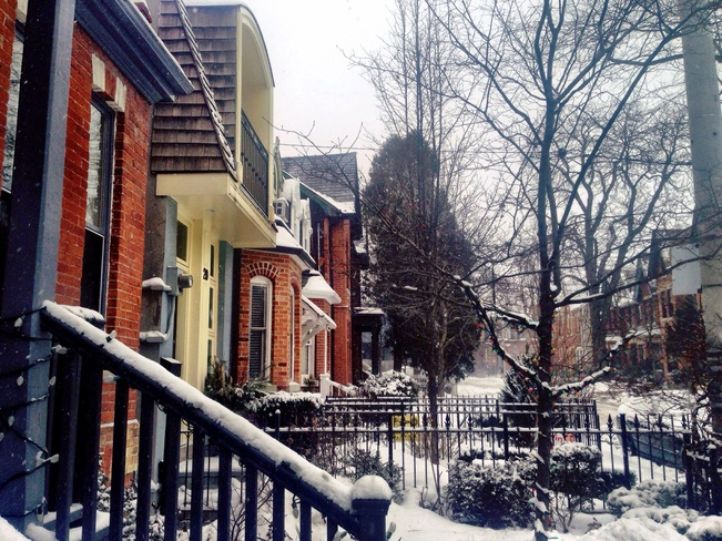Snowy Day on Sword Street Cabbagetown-South St. James Town, Ontario Canada