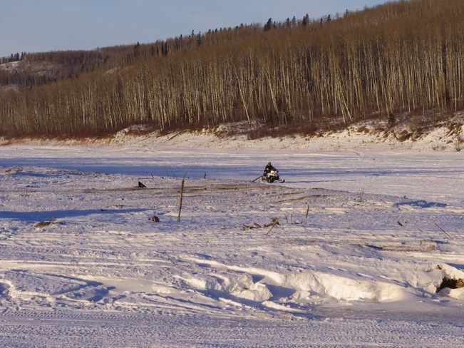 Cold ride on ,the Clearwater. Fort McMurray, Alberta Canada
