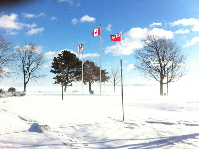 Clear sky in midst of whiteout Brockville, Ontario Canada