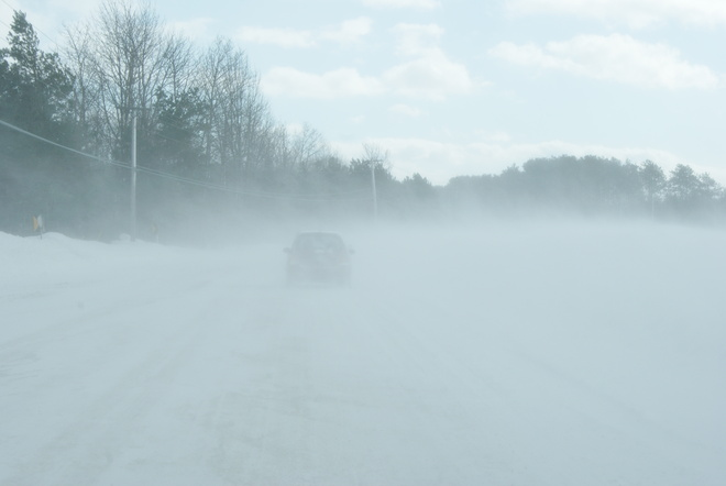 Driving in Blowing Snow Midland, Ontario Canada