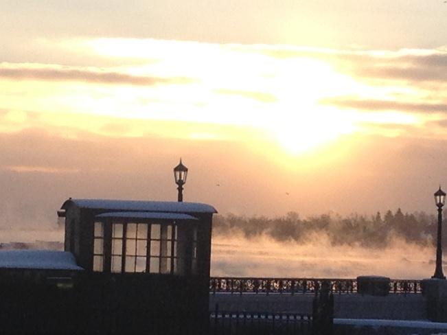 Crisp winter morning Niagara Falls, Ontario Canada