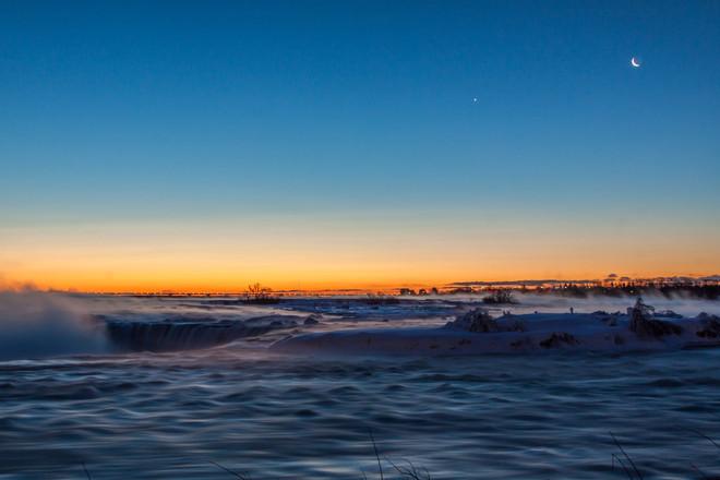 Cold Crescent Moon Morning Niagara Falls, Ontario Canada