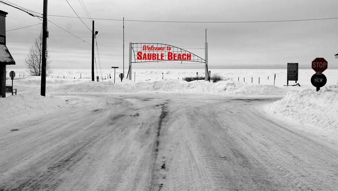 Sauble Beach Snow B&W Sauble Beach, Ontario Canada