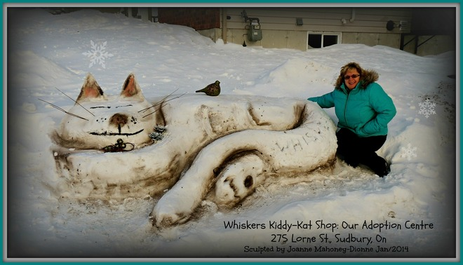 Kitty Kat Snow Sculpture Sudbury, Ontario Canada