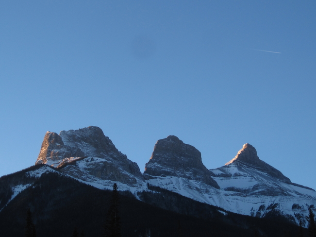 Three Sisters on Ground Hog Day Canmore, Alberta Canada