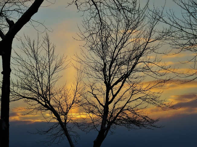 Sun pillar the one bright light in tonight's sunset. North Bay, Ontario Canada