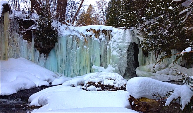 Blue Ice Waterfall Shelburne, Ontario Canada