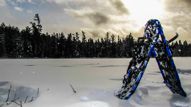 Snow shoeing Temagami, Ontario Canada