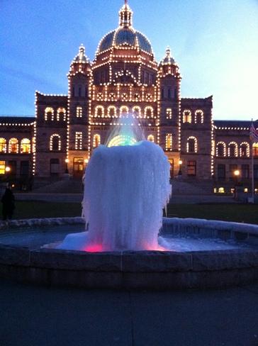 the frozen fountain at the Victoria legislature Sidney, British Columbia Canada