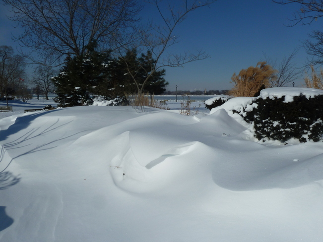 Soft Snow Drifts in Park Windsor, Ontario Canada