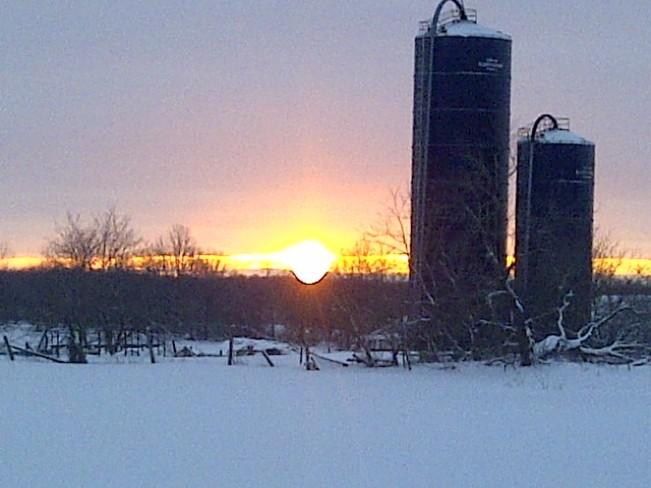 silo and morning sun Tamworth, Ontario Canada