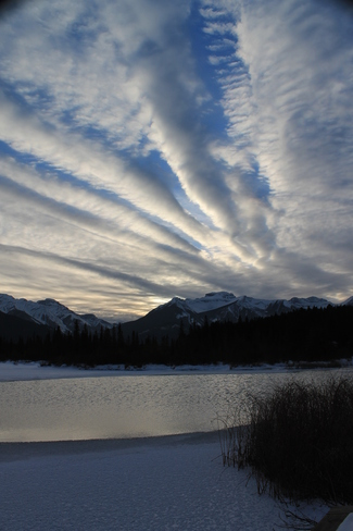 Ice and Clouds at days end Banff, Alberta Canada