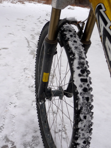 icy bike ride London, Ontario Canada