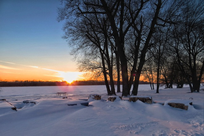 Snow Sunset Dunnville, Ontario Canada