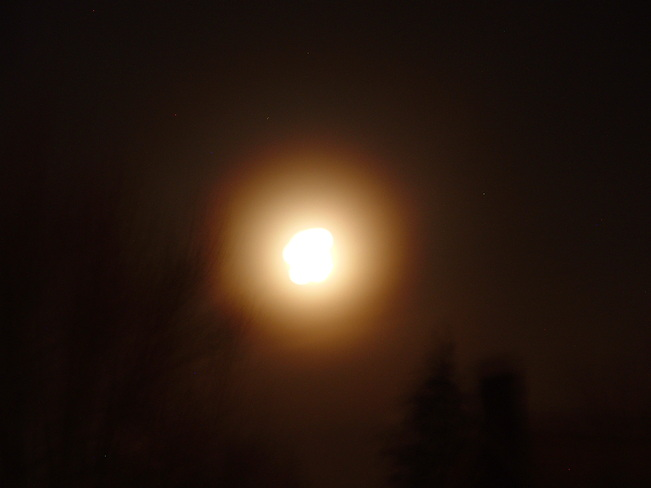 Gold fog around the moon. Kitchener, Ontario Canada