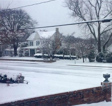 Snowy Farmhouse on Main Fountain Inn SC