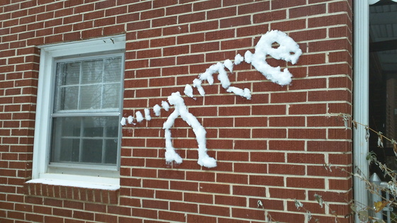 T-Rex Skeleton Snow Art
