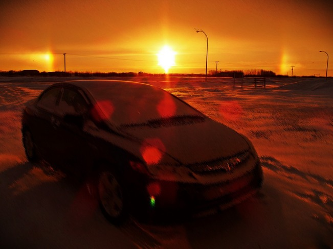 Sensational Sundog after the Snowstorm Unity, Saskatchewan Canada