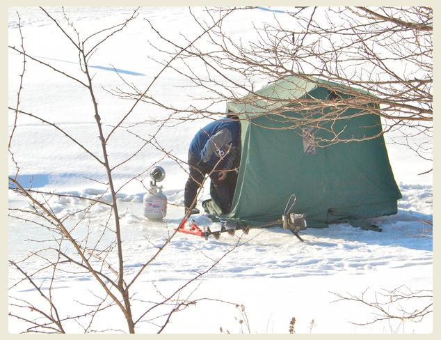 getting ready for a little ice fishing Port Hope, Ontario Canada