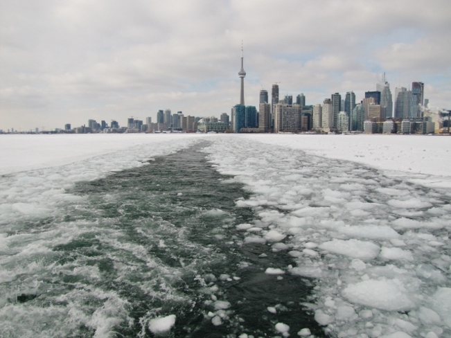 Ice-filled harbour Toronto Islands, Ontario Canada