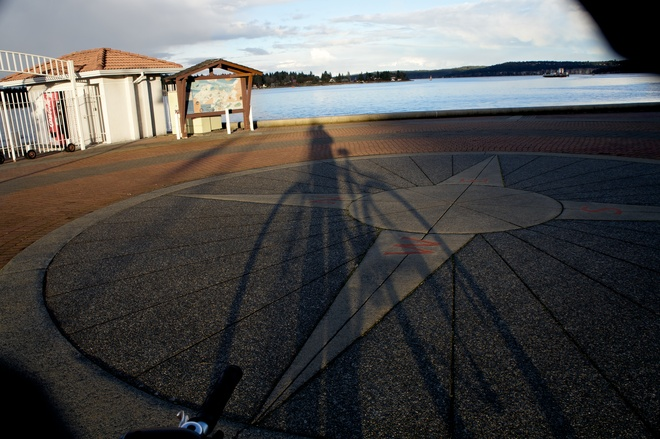 Sunset ,shadow & Compass Nanaimo, British Columbia Canada