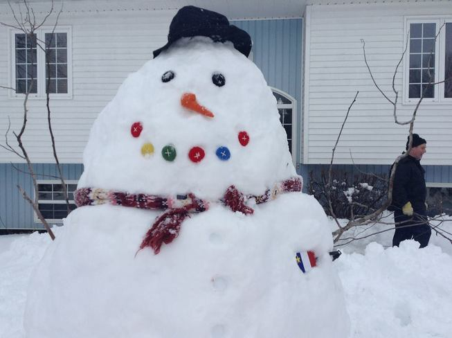 Our snowman with an Acadian heart Centreville, Nova Scotia Canada
