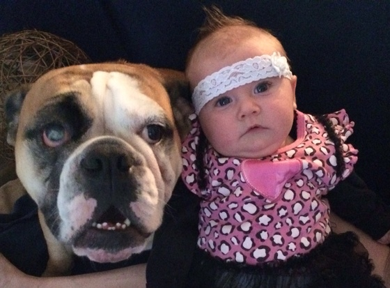 baby Scarlett and her dog Bentley