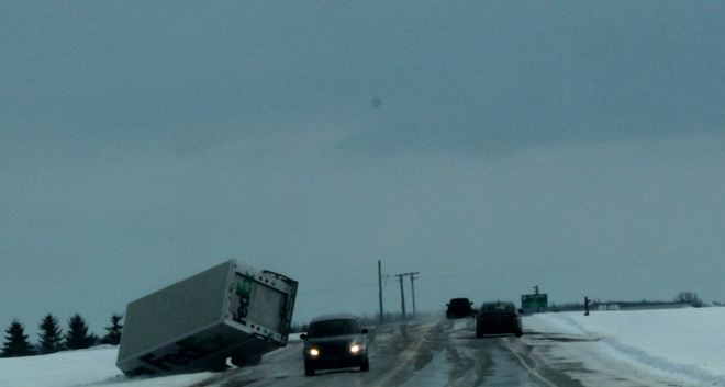 Strong winds tipped over Truck Aylmer, Ontario Canada