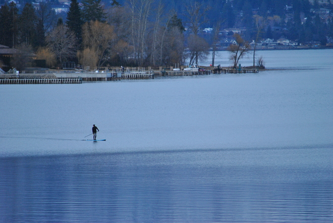 February Paddle Boarding South Kelowna, British Columbia Canada