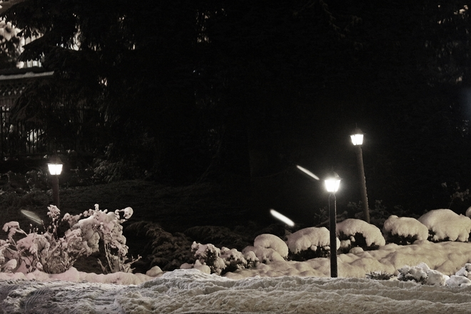 Night brighter with snow Surrey, British Columbia Canada