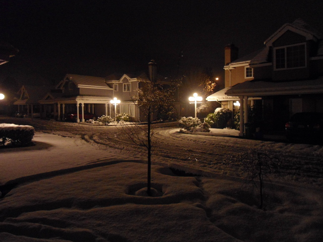 My complex at night and after snow fall Richmond, British Columbia Canada