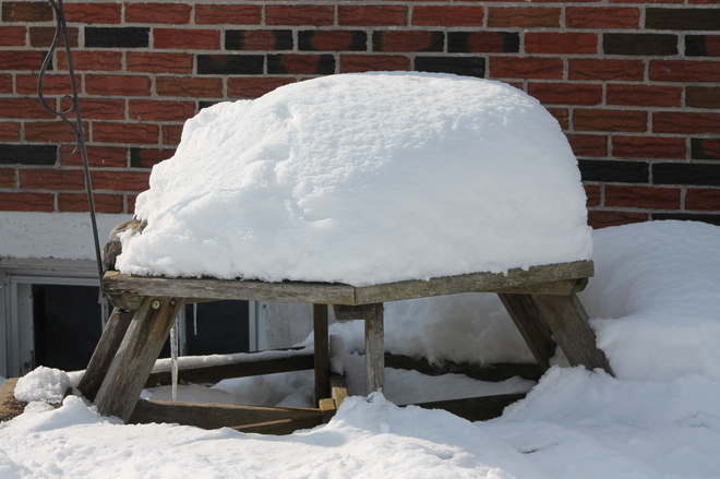 Snow Load on the Picnic table Aylmer, Ontario Canada