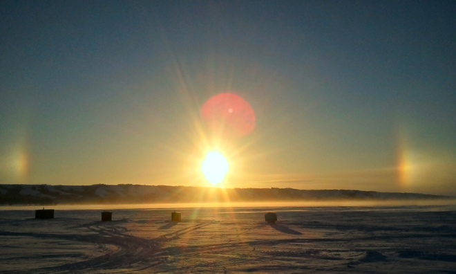 Sunrise sundogs Taylor Beach, Saskatchewan Canada