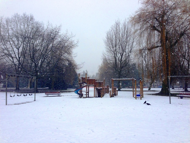Playground in frost Vancouver, British Columbia Canada