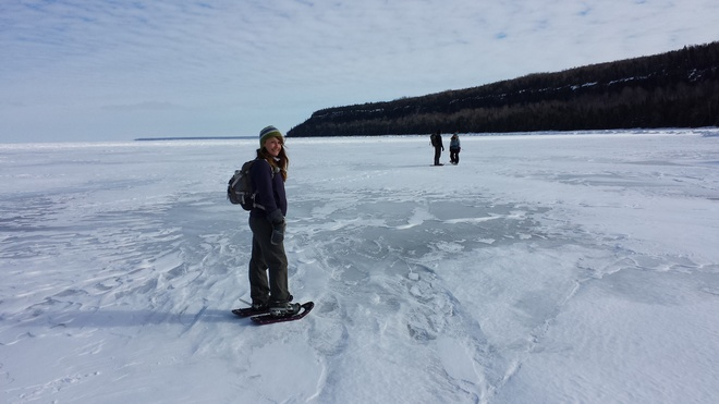 Snowshoeing on McKay Harbour Lion's Head, Ontario Canada