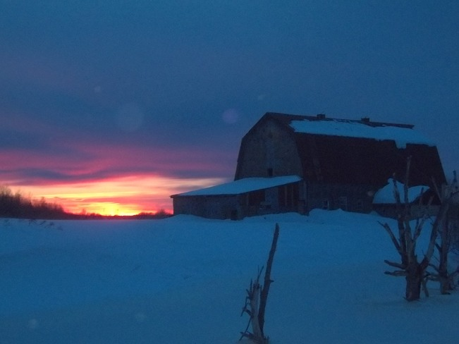 Winter Sunset, Old Barn on Mclean Timmins, Ontario Canada