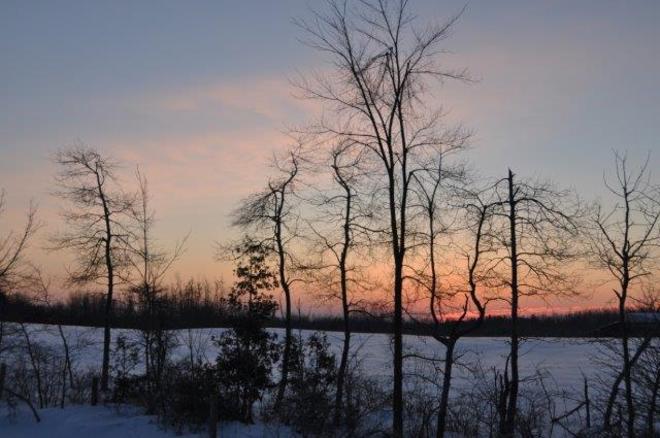 Winter sunrise Erin, Ontario Canada