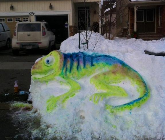 Snow painting Ingle, Ontario Canada